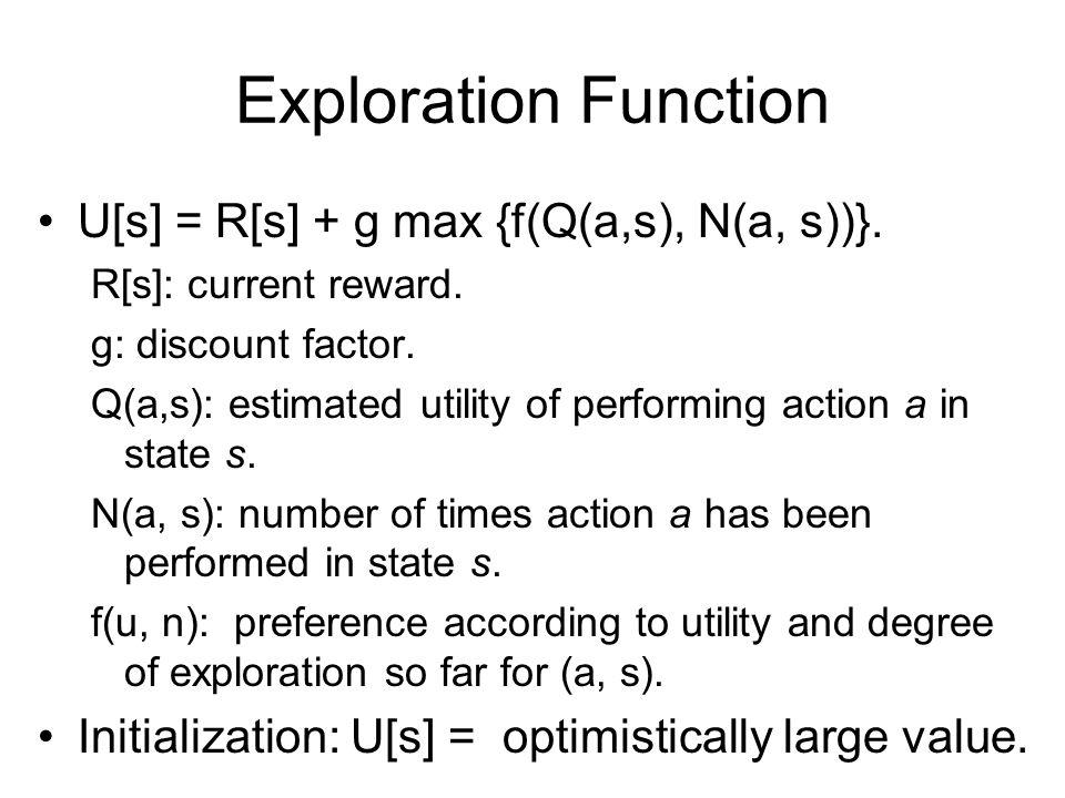 Exploration Function U[s] = R[s] + g max {f(Q(a,s), N(a, s))}.
